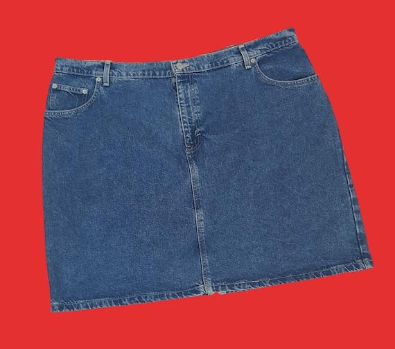 90s Tommy Hilfiger Womens Denim Skirt - Extra Large XXL Blue Jean Mini Skirt - Vintage Classic Jean Skirt
