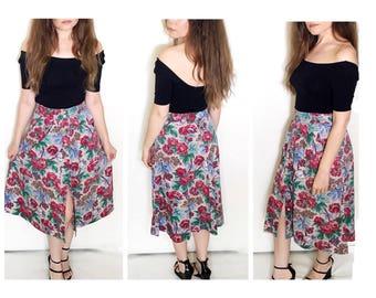 Vintage 80s maxi skirt / floral print high waist button front maxi skirt