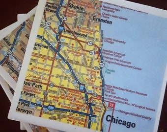 Chicago Road Map Coasters, Set of 4...FREE SHIPPING