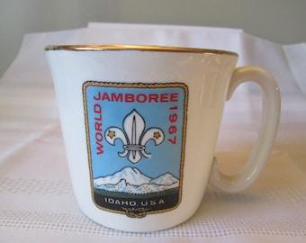 Vintage Boy Scout Mug, World Jamboree 1967 Idaho USA, Boy Scout Memorabilia,