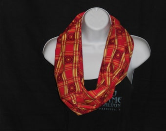 Red and Yellow Squares with Red Flowers Infinity Scarf