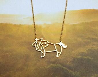 Lion Necklace, Origami necklace, Animal necklace, Lion jewelry, Wildlife Jewelry, Woodland Jewelry, Animal gift, Gift under 30