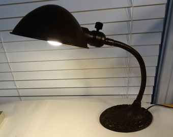 Industrial Gooseneck Lamp, Goose Neck Desk Lamp with Shade, Vintage Industrial Task Lighting, Great Condition