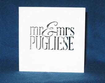 Personalized Wedding Card, Hand Cut Card