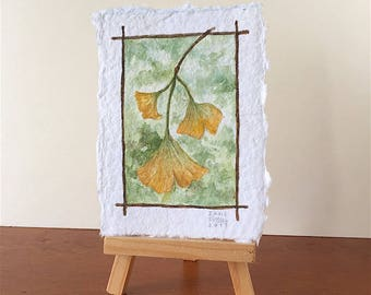 Ginkgo in Autumn Tiny Original Watercolor OOAK Free Shipping