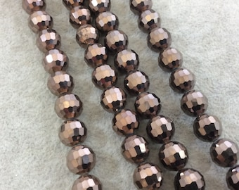 """10mm Glossy Finish Faceted Opaque Dark Brown Chinese Crystal Round/Ball Shaped Beads - Sold by 16"""" Strands (Approx. 42 Beads) - (CC10-110)"""