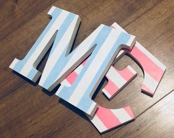Wooden Letter - Wooden Initials - Nursery Letters - Painted Letters - Baby Gift - Shelf Letter - Shelf Sitter - Nursery Decor - Striped Gift