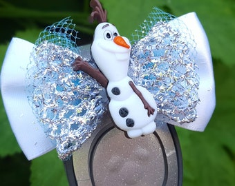 Silver Olaf inspired Magic Band Bow