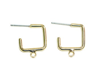 Square Hoop Earring / Gold Plated Brass / Surgical stainless steel Post / 2pcs / m19