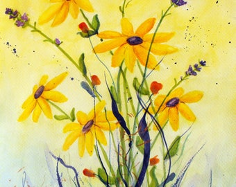 Original Watercolor Yellow Daisies