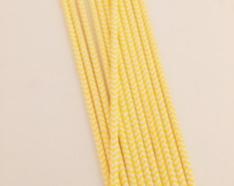 Yellow & White Chevron Stripe Paper Straws