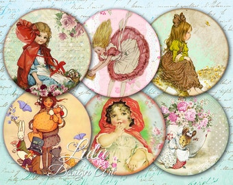 Fairytales Circles - Digital Collage Sheet, Digital Stamp, Fairy Tales, 2,5 Inch Circles, Round Images, Pocket Mirrors, Magnet, Button