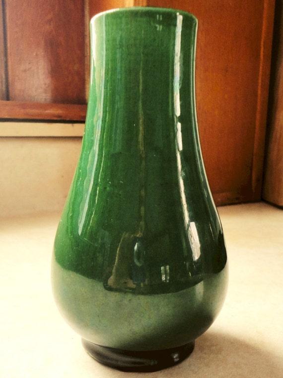 Antique Awaji Vase Collectible Japanese Green Asian Decor Art