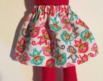 Fingerlings Monkey - Christmas Scout Elf Skirt - Colorful Baby Monkeys -- Holiday Pixie Girl Elves - Winter X-mas Doll Clothes
