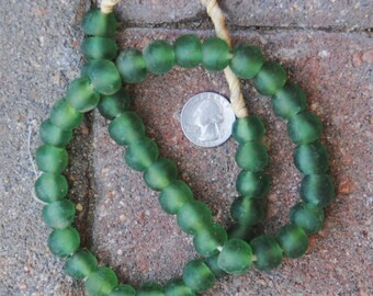 Ghana Glass Beads: Green 12x14mm