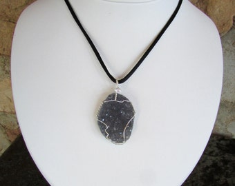 Amethyst Crystal Pendant - Amethyst Crystal Druse Wire Wrapped in Sterling Silver - Druzy Raw Crystal Necklace