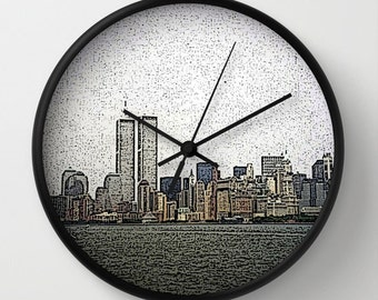 World Trade Center 1998, Photo Wall Clock,New York City,Modern Clock,Retro Clock,Home Decor,RoundClock,CityClock,Accessories,Interior Design