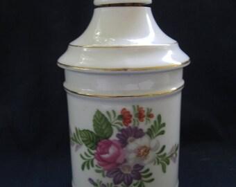 Vintage Antique Porcelain Vanity/Dresser/Oil Bottle with Roses Gilt Trim