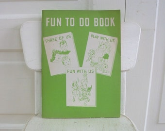Vintage Child School Workbook, Fun To Do Workbook, Retro Workbook, Vintage Book