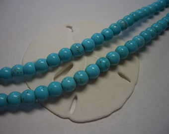 6mm Turquoise blue Magnesite beads, round, light blue, 6mm gemstone beads, blue, sky blue, round beads, 6mm beads, turquoise Magnesite