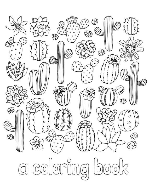 Digital Download Cactus and Succulent Adult Coloring Book