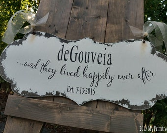 and they lived HAPPILY EVER AFTER Sign | Wedding Sign | Ring Bearer Sign | Flower Girl Sign | Sign with Handles | Aisle Sign | Distressed