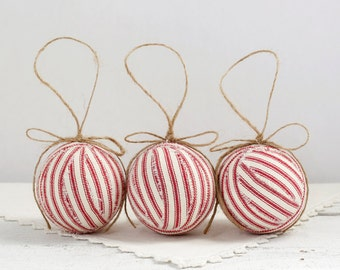 Rag Ball Ornaments - 3 Red Cotton Ticking Decorations