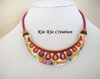 Choker necklace, Burgundy and multicolor, enamel bib, Pearl Crystal, rhinestone, extension chain, goldtone, women's fashion accessory