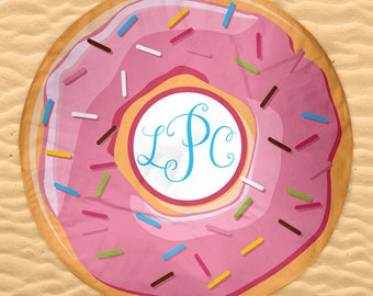 Mega Donut Beach Towel Personalized with Monogram or Name - Sprinkles Donut in Pink Green or Blue 60in Round Beach Towel
