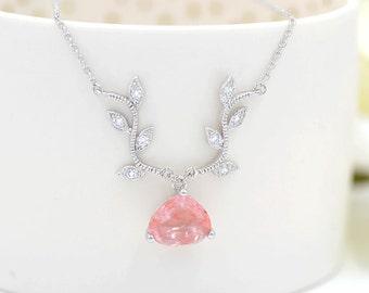 Cubic Zirconia Pink Vine And Teardrop Bridal Necklace CZ Vine Bridal Necklace With Teardrop Pendant Nouveau ,PinkBridal Necklace, romantic