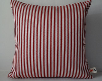 Sunbrella RED TICKING PILLOW Cover|Farmhouse Pillow Cover|Indoor Outdoor Pillow|Decorative Throw Pillow|Christmas Pillow Cover|Oba Canvas