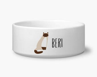 Personalized cat bowl, Siamese cat food or water bowl with custom name, white ceramic dishwasher and microwave safe