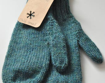 Ready made : Teal mittens (child small)