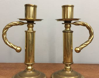 Vintage Brass Candlesticks with Twisted Handles - Boho Home Decor or Wedding Decor