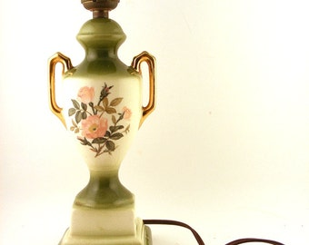 Vintage Painted Porcelain Lamp Urn Style Floral Green with Gold Gilt Handles