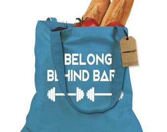 I Belong Behind Bars Shopping Tote Bag