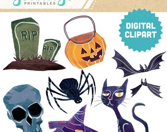 HALLOWEEN Digital Clipart Instant Download Ephemera Scrapbook Stock Image Cartoon Pumpkin Skull Cat Bat Tombstone Witch Hat Spider Clip Art