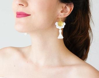 Statement Jewelry Tassel Earrings Summer Trends White Earrings Tassel Jewelry Statement Jewelry Dangle Earrings Inspirational/ GALANI