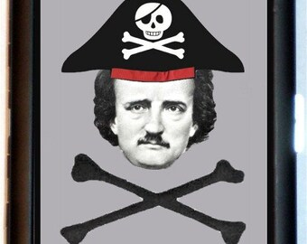 Edgar Allan Poe Pirate Cigarette Case Business Card Case Wallet Lowbrow Humor Crossbones Gothic Goth Horror Writer Poet Black Metal