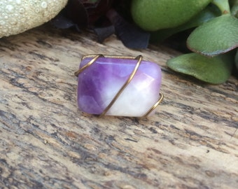 Faceted Amethyst Wire Wrapped Ring, faceted amethyst, amethyst ring, wire wrapped amethyst ring, wire wrapped ring, crystal ring, size 6