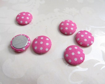 Pink Fabric Covered Buttons / Pink and White Polka Dot Flatback  Buttons / 15mm
