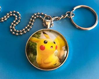 Pikachu Pokemon Card Necklace OR Keychain
