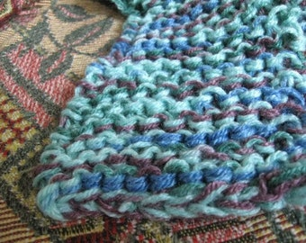 HAND-KNITTED SCARF - 46in x 4in, Aqua, Maroon, Blues