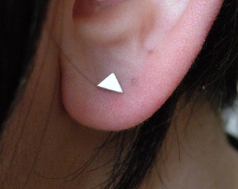 Tiny triangle stud earrings in sterling silver mix and match nickel free tiny stud minimalist earrings multiple piercings dainty stud