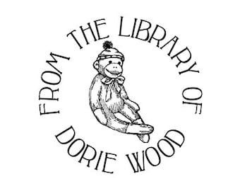 Sock Monkey From the Library of Custom Ex Libris Mounted Rubber Stamp Bookplate