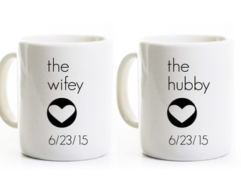 Wedding Gift - Hubby and Wifey Coffee Mugs with Hearts Love - Anniversary Marriage Coffee Cups - Personalized