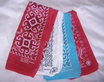4 vintage Lightly Shabby Cotton Bandannas • USA Bandana