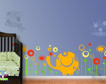 Elephant in the Meadow Wall Stickers - Baby Wall Decals In the Meadow  - Children Wall Nursery Sticker - FLWD020