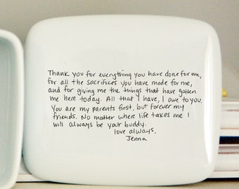 Handwritten Letter Box : Message on top of box, Wedding Thank you mom, mother of bride, wedding thank you mom and dad