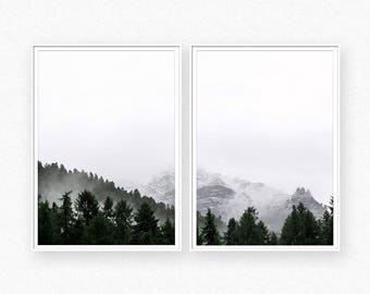 Forest print, forest wall art, foggy forest, mountain poster, foggy forest wall art, nature photography, misty forest, minimalist landscape
